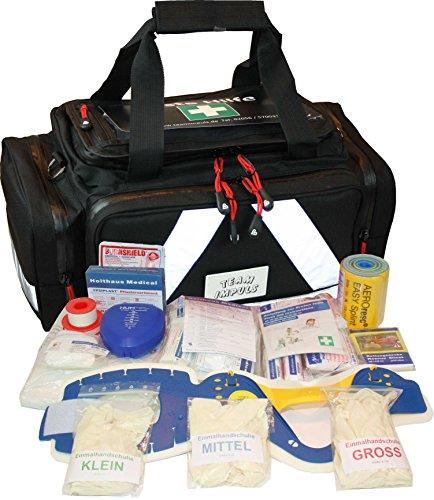 Erste Hilfe Tasche - Notfalltasche PKW, Freizeit und Veranstaltung aus schwarzem Nylon mit Waterstop Reißverschluss