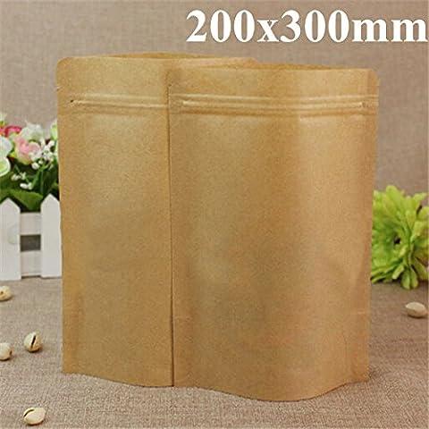Yongse Borse Kraft carta di alluminio Packaging Stand Up con la chiusura lampo per Food Storage 200x300mm