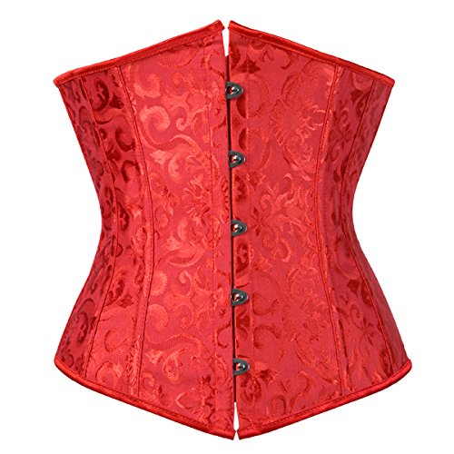 Stay Damen 9427 Unterbrust Jacquard Lace Up Waist Cincher Corsage Bauchweg Top Rot