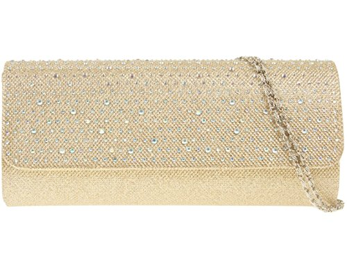 Pochette Girocollo In Raso Con Diamanti Oro
