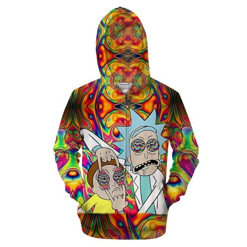 Ai Ya-weiyi 3D Cartoon Hommes Hoodies Zipper Pulls Pull Zip Hoody Streetwear Rick Anime Survêtements Homme Harajuku