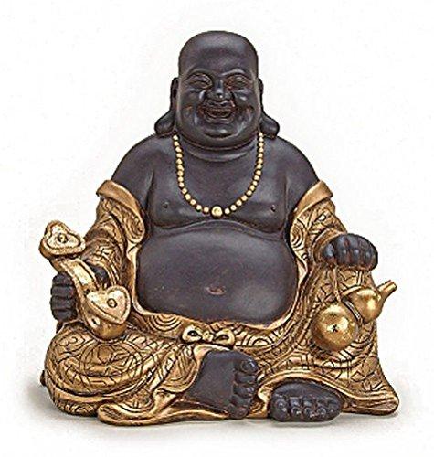 Deko Figur Happy Buddha Figur sitzend, Statue aus Polystein braun und gold, Höhe 30 cm groß, Figur Mönch lachend, Glücksbuddha Budai mit Sitar und Almosentopf