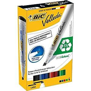 BIC Velleda 1751 ECOlutions rotuladores de Pizarra punta biselada Media – colores Surtidos, Blíster de 4 unidades