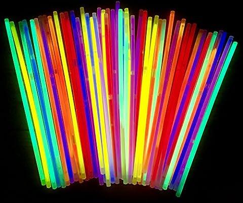 50 Knicklichter | Leuchtstäbe | Armreifen | Glowstick | Partylichter | Neon rot gelb grün pink orange blau | PREMIUM Lichter, leuchten ewig | deutsche Marke molinoRC® | Expressversand BRD