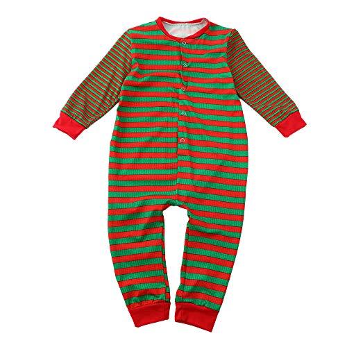 Costume de Noel Pyjamas Bébés Garçons Filles Femme Homme Combi-Short  Manches Longues Combinaison Rayée 683c7d56bb9