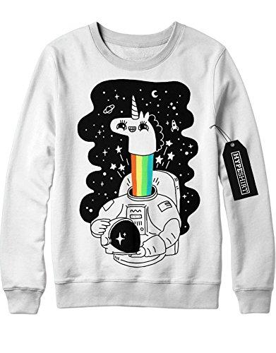 Sweatshirt Einhorn Anstronaut Regenbogen Universium Weltall Sterne Saturn Rakete H970007 Weiß (Kostüm Bmo Für Kinder)