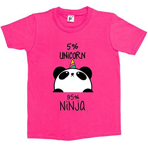 5-unicorn-95-ninja-black-white-panda-kids-boys-girls-t-shirt-size-5-6-year-old-colour-hot-pink-chris