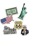 """1 Packung XXL-Großkonfetti USA/AMERIKA mit 24 großen Konfetti-Teilen mit 6 verschiedenen Motive: Freiheitsstatue, Staatenflagge, """"I want you"""", US-Dollar, Route 66 und Mount Rushmore. Perfekt für eine Mottoparty oder einen Kindergeburtstag."""