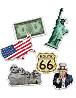 """'1paquet grand format grand confettis USA/Amérique, 24pièces de confettis de avec 6différents motifs: Statue de la Liberté, drapeau, """"I want you, dollars, route 66et Mount Rushmore. Idéal pour un thème de fête ou un anniversaire d'enfant."""