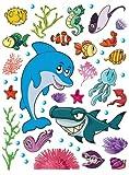 Kinder Wandtattoo Wandsticker Tattoo Wanddeko Delphin Meerestiere Fische