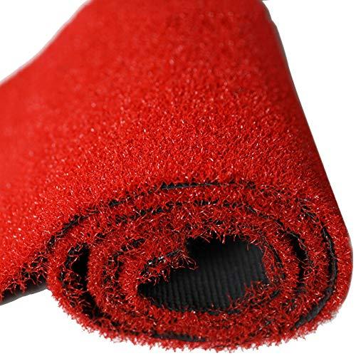 WENZHE Erba sintetica Erba Sintetica Tappeto Erba Finta Golf Balcone Villa Tribunale Dedito Interno All'aperto, 10 Mm Di Spessore, Dimensione Personalizzabile (Colore : Red, dimensioni : 2x3m)