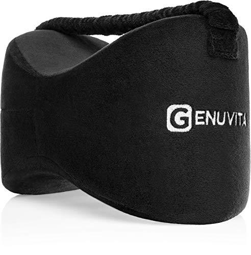 Genuvita® Orthopädisches Premiumkniekissen für Seitenschläfer, entlastet spürbar Rücken, Beine, Knie, Hüfte und sorgt für eine ergonomische Liegeposition (schwarz)