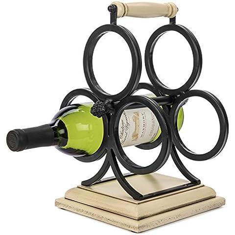 Wellington–Piano in ferro battuto e legno vino rack (Bar Server Mobili)