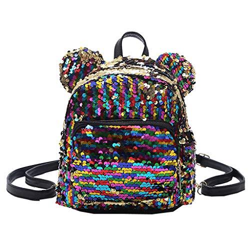 erthome Mode Dame Pailletten Schulrucksack Schulranzen Mädchen Student Reise Umhängetasche Messenger Bag, Unisex Casual Vintage Stoff Rucksack (Lila)