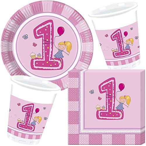 37-teiliges Party-Set * 1. GEBURTSTAG MÄDCHEN * für den ersten Kindergeburtstag//mit Teller + Becher + Servietten + Luftballons//Deko Dekoration Kinder Geburtstag
