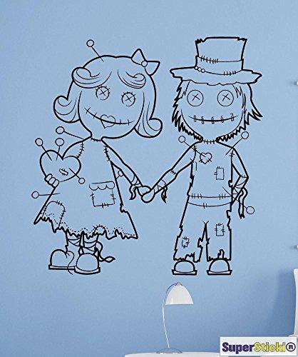 SUPERSTICKI Voodoo Puppen Pärchen Junge Mädchen Grusel Horror Wandtattoo ca 60 x 60 cm Hobby Deko