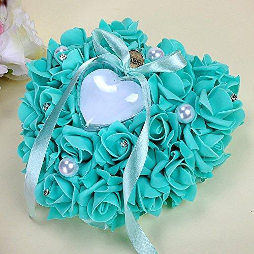 elegantstunning Beautiful Rose Bridal Ring Kissen Strass Herz Form Geschenk £ ¬ Ring Box für Hochzeit Favor Dekoration Tiffany Blue