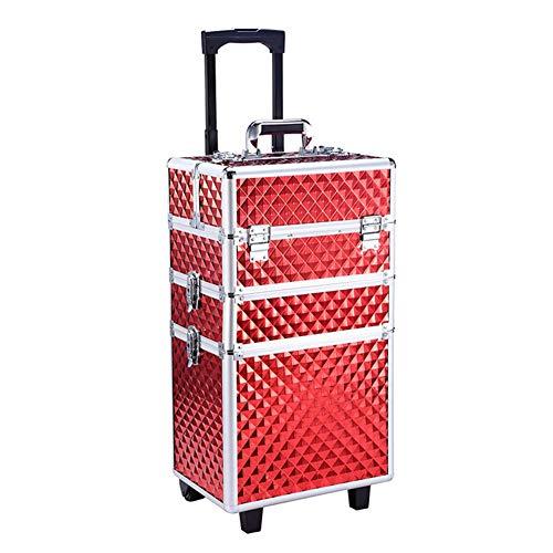 Zzyq Beauty Trolley Box Reise Make-Up Tasche, Separate Abnehmbare Große Aufbewahrungsbox,Red