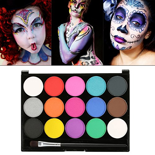 (Schminke Make-Up, Kinderschminke 15 verschiedene Farben Profi Palette Ideal für Kinder, Parties, Bodypainting Halloween Make-up)