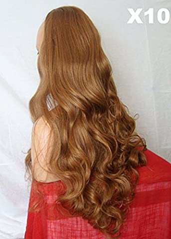 WIG FASHION 26 Inch Ladies 3/4 Half Fall Wig - Sexy Long Layered Curly Wavy Style - AUBURN GINGER MIX - Heat Resistant Synthetic - Clip In Hair Piece Women Extension