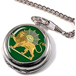 Lion and the Sun Iran Full Hunter Pocket Watch