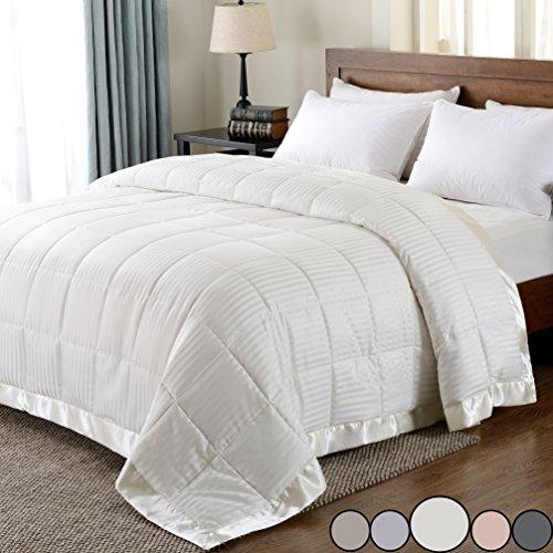 Downluxe wendbar Mikrofaser Daunen Alternative Decke, Bett überwurf Decke mit Satin Rand, Mikrofaser, elfenbeinfarben, Queen -