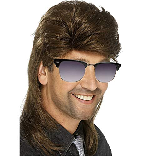 PKQ® Perücken Herren, Vokuhila Perücke Long Perücke Männer Kunsthaar Haarteile,Brown