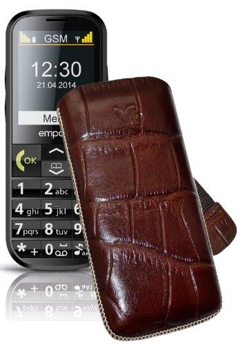Original Suncase Tasche für / Emporia C160 emporiaECO / Leder Etui Handytasche Ledertasche Schutzhülle Case Hülle Lasche mit Rückzugfunktion* In Croco-Braun