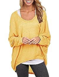 Mujeres Camiseta con Mangas Largas de Murciélago Cuello Redondo Camisa Blusa Suelto Jumper Pullover Sudadera Sweater Amarillo XXL