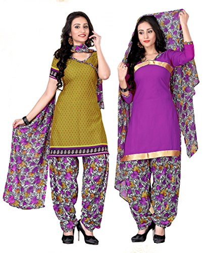 Khushali Presents Two Top Style Dress Material(Mahendi Green, Light Purple,Multi)