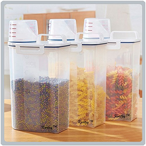 Set of 3 Cereal Dispenser 100% Air Tight Jar 2300ml / 2KG - Idle for Kitchen Storage Box Lid Food Rice Pasta Container (15cm X 7cm X 23cm) By Kurtzy