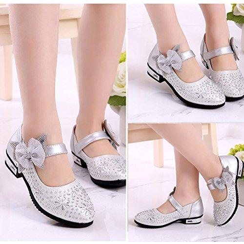 Zhuhaitf Haute qualité Little Girls Kids Glitter Rhinestone Low Heel Cute Party Dress Shoes silver