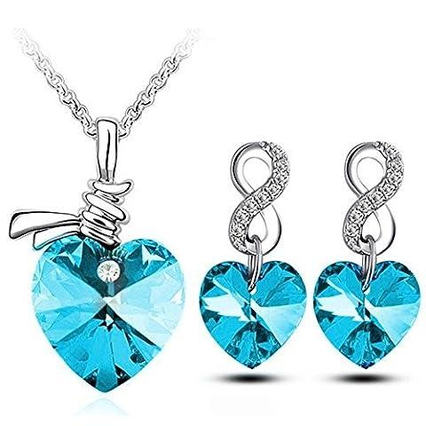 Parure coeur infini cristal swarovski elements plaqué or blanc Couleur Bleu turquoise