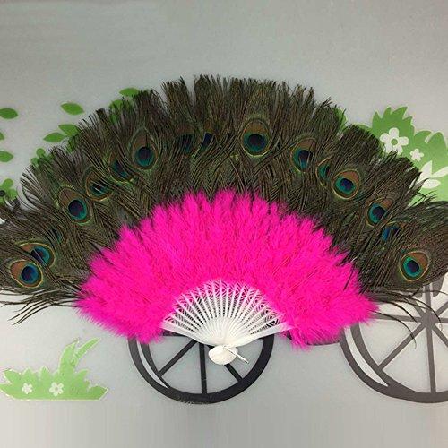 MOTOCO Damen Faltfächer Blumenmuster Seidenfächer Handfächer Eleganter Tanzfächer Hochzeitsdekoration (Showgirl Kostüm Muster)