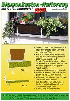 Blumenkastenhalterung mit Gefälleausgleich, weiß von Fa. Klaus Weyh - Metallwaren Designprodukte - bei Du und dein Garten