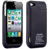 Vanda®-iPhone 4 / 4S Schwarz Akku Batterie Schutzhülle Cover Case Ladegerät-3000MAH - Extern Akku-Schwarz