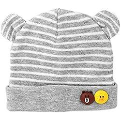 Scrox Linda Gorras para bebé nuevo bebé recién nacido sombreros de algodón Cálido otoño invierno recién nacido Sombrero del otoño y del invierno del bebé (Gris)
