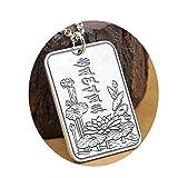 KnBoB Damen Herren Halskette Sechs-Wort-Mantra-Memoiren Lotus Anhänger Buddhismus Herrenhalskette DZ 925 Sterling Silber