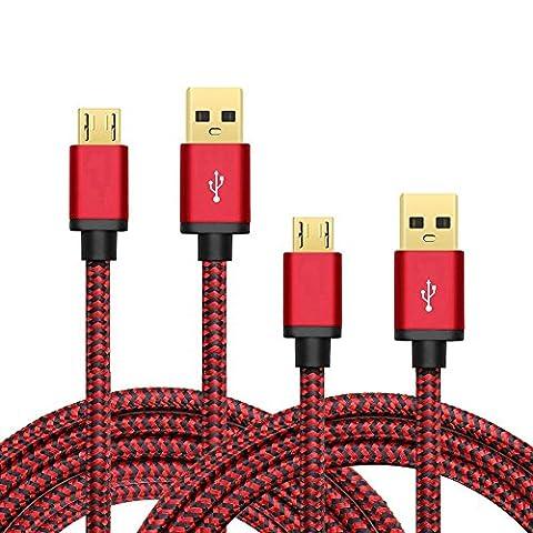 Micro USB Kabel Nylon, BeneStellar (2 Pack 0,9m & 1,8m) High Speed USB 2.0 A Male auf Micro B Synchronisations und Ladekabel für Android, Samsung, Huawei, HTC, Sony, Nexus, Xiaomi und mehr (Rot & Rot 0,9m &