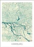 Poster 30 x 40 cm: Hamburg, Deutschland Karte Blau von