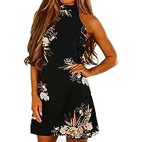AmazingDays Damen äRmelloser Neckholder Kleid A Linie Drucken Sommerkleid  Casual Kleider Elegant Strandkleider Chiffon Minikleid afd72d389d