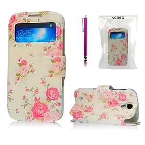 VCOER Premium Farbe Dekoration Blumen Rosa Rose PU Ledertasche / Schutzhülle / Cover / Leder Skin / Flip Case Handy Tasche für das Samsung Galaxy S4 / S 4 / I9500 IV I 9505 - Design aus PU Leder INKLUSIVE Standfunktion + Stylus SoftTouch Eingabestift Pen