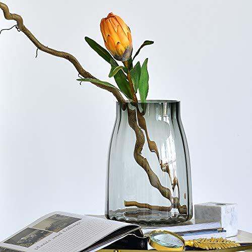 Cyl Home Vasen grau/grün geriffeltes Glas Blumenarrangement Vase Hurricane Kerzenhalter Tischdekoration Akzent für Esszimmer, Wohnzimmer, Hochzeit, Einweihung Traditionell 10.2'' H x 7.6'' D