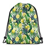 Drawstring Tote Bag Gym Bags Storage Backpack, Tropical Plants with Large Evergreen Leaf Lemon Botany Palm Jungle Graphic,Very Strong Premium Quality Gym Bag for Adults & Children