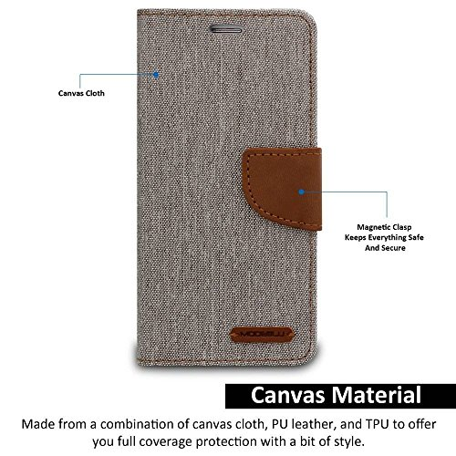 Finaux Canvas Diary Wallet Folio Book Cover for Redmi Note 4 - Grey