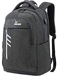 Laptop Backpack, Business Laptop Bag Waterproof Travel Rucksack, Large College School Bookbag with USB Charging Port & Headphone Hole, Computer Bag for Men Women Fits 15.6 Inch Laptop (Grey)
