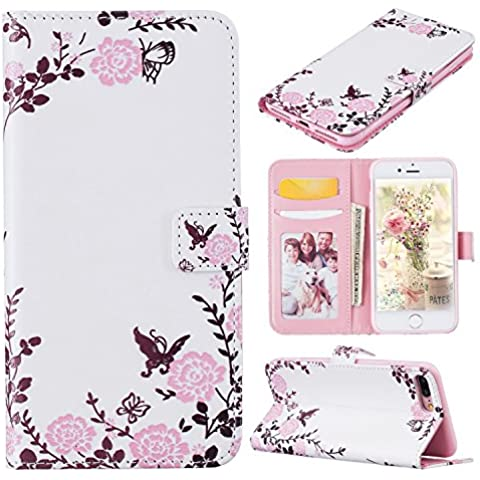 iPhone 7 Plus Libro, per Apple iPhone 7 Plus 2016 Custodia Portafoglio, Asnlove Cover in (Pulsante Paisley Anteriore)
