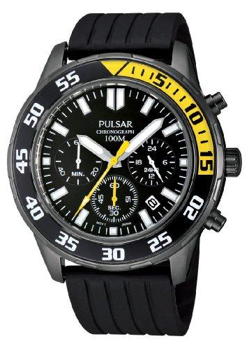 Pulsar Uhren Herren-Armbanduhr XL Sport Chronograph Quarz Kautschuk PT3243X1 (Pulsar-kautschuk-armband-uhr)