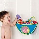 Qinlee Wasserdicht Badezimmer Spielzeug Aufbewahrungstasche Mit Sauger Triangle Toy Organizer fur kinder Blau Rosa