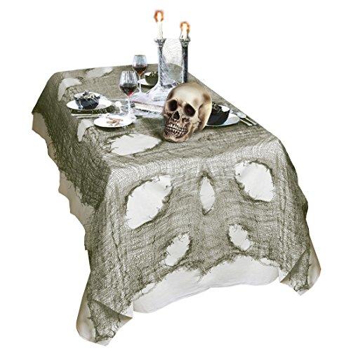 Mantel Halloween Tejido harapiento decoración mesa 60 x 300 cm Tela andrajoso para mesa Decoración noche de brujas paño de mesa Objeto ornamental fiesta de miedo Ambientación terrorífico